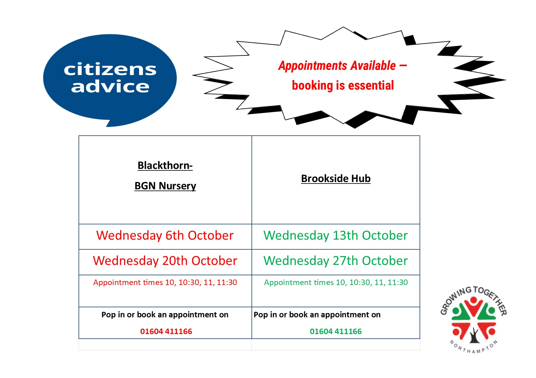 Citizens Advice is back at the Nursery and Hub